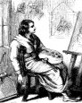 old print of seated artist
