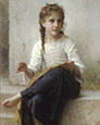 painting of girl sewing